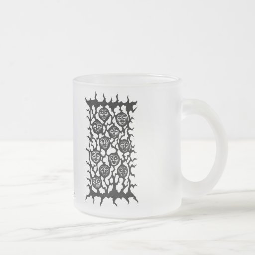 Funny faces ink pen drawing mug