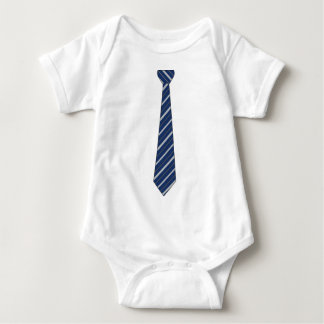 Funny Fake Blue Striped Tie Baby Bodysuit