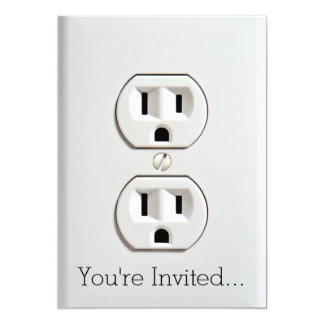 Funny Fake Electrical Outlet 13 Cm X 18 Cm Invitation Card