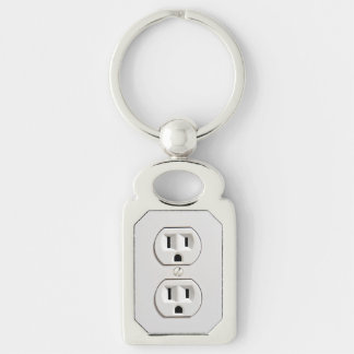 Funny Fake Electrical Outlet Silver-Colored Rectangle Key Ring
