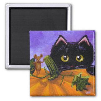 Funny Fall  Black Cat Mouse Pumpkin Creationarts Magnet