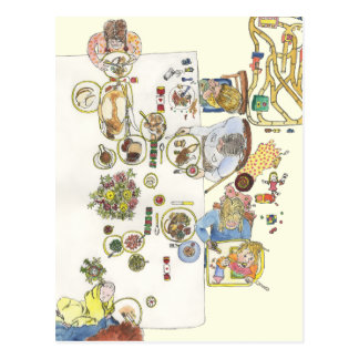 Funny Family dinner from above novelty postcard