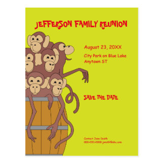 Funny family reunion barrel of monkeys postcard