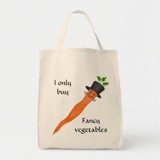 Funny fancy carrots grocery tote bag