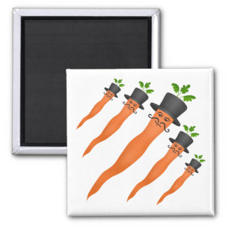 Funny fancy carrots 2 inch square magnet