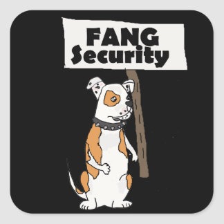 Funny Fang Security American Bulldog Cartoon Square Sticker