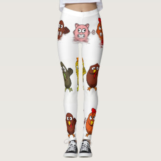 Funny farm animal characters isolated leggings