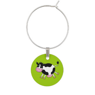 funny farm dancing cow wine glass charms