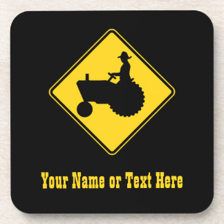 Funny Farm Tractor Road Sign Warning Beverage Coaster