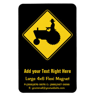Funny Farm Tractor Road Sign Warning Rectangular Photo Magnet