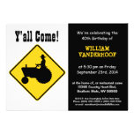Funny  Farmer on Tractor Birthday Party Personalized Announcement