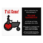 Funny  Farmer on Tractor Birthday Party Personalised Announcements