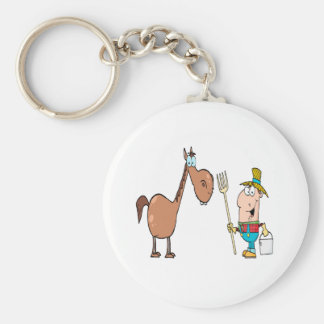 funny farmer with horse key ring