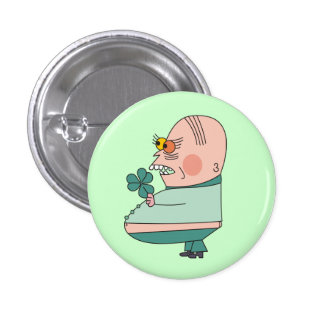 Funny Fat Boy with Shamrock Pinback Buttons