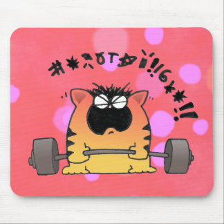 Funny Fat Cat Lift Weight Mouse Pad