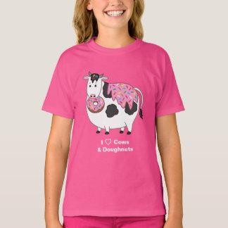 Funny Fat Holstein Cow Eating Sprinkle Doughnut T-Shirt