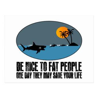 Funny fat joke postcard
