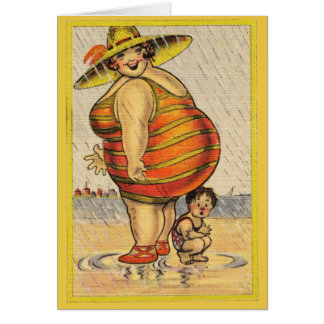 Funny Fat Lady on Beach Greeting Card