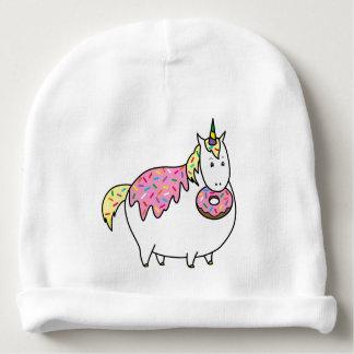 Funny Fat Unicorn Eating Sprinkle Doughnut Baby Beanie