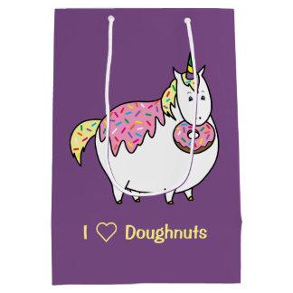 Funny Fat Unicorn Eating Sprinkle Doughnut Medium Gift Bag