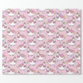 Funny Fat Unicorn Eating Sprinkle Doughnut Wrapping Paper