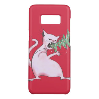 Funny Fat White Cat Eats Christmas Tree Case-Mate Samsung Galaxy S8 Case