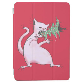 Funny Fat White Cat Eats Christmas Tree iPad Air Cover
