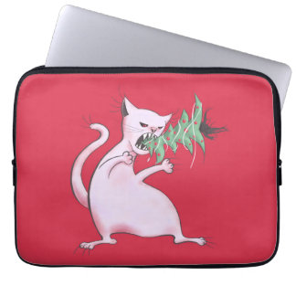 Funny Fat White Cat Eats Christmas Tree Laptop Sleeve