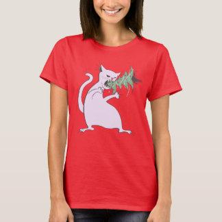 Funny Fat White Cat Eats Christmas Tree T-Shirt