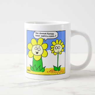 Funny Fat Yellow Flower on Diet Cartoon Gardener Large Coffee Mug