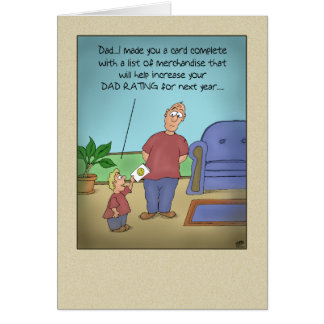 Funny Fathers Day Cards: Dad Rating Cartoon Card