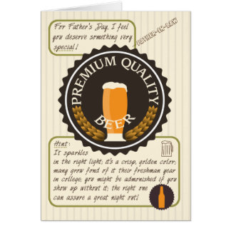 Funny Fathers Day Retro Beer Label for Dad in Law Card