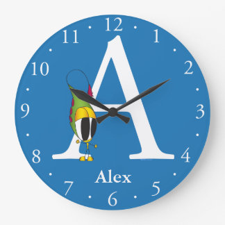 Funny Fellows ABC: Letter A | Add Your Name Large Clock