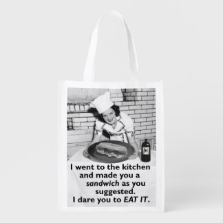 Funny Feminist Make Me a Sandwich Reusable Grocery Bag