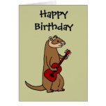 Funny Ferret Playing Red Guitar