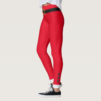 Funny Festive Red Christmas Elf Leggings