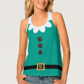Funny Festive Teal Green Christmas Elf Tank Top