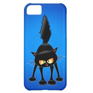 Funny Fierce Black Cat Cartoon iPhone 5C Case