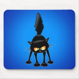 Funny Fierce Black Cat Cartoon Mouse Pad