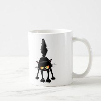 Funny Fierce Black Cat Cartoon Coffee Mugs