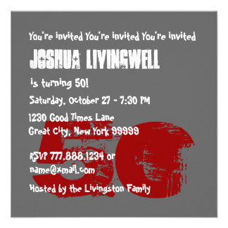 Funny Fifty Year Old 50th Birthday Template V07 Personalized Invites