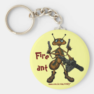 Funny fire ant with guns cartoon art keychain