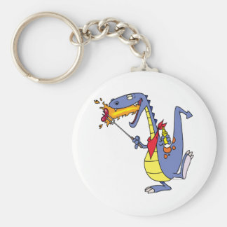 funny fire cooking hot dogs dragon cartoon key ring
