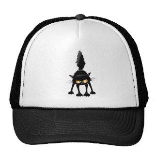 Funny Firece Black Cat Cartoon Trucker Hat