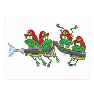 funny firefighter froggy frogs postcard