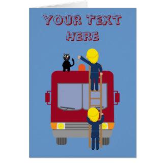 Funny firemen rescuing cat card