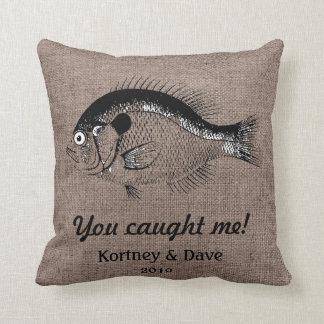 Funny Fish Burlap Shell Beach Bum Back Indoor Pill Throw Pillow