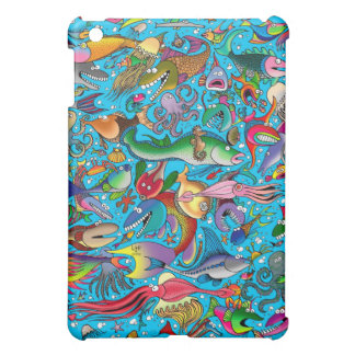 """Funny Fish"" (On Blue) iPad Mini Matte Finish Case iPad Mini Cases"