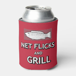 Funny Fishing Cast Net Fish Parody Joke Can Cooler