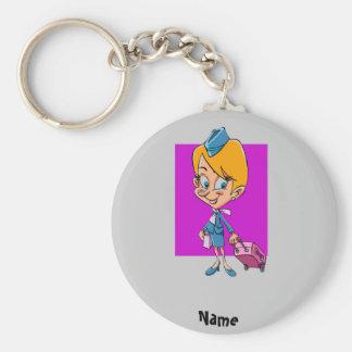 Funny flight attendant cartoon air hostess key ring